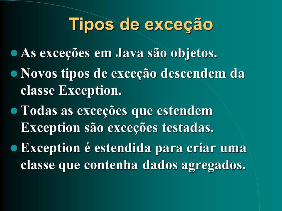 Tipos de exceção As exceções em Java são objetos.