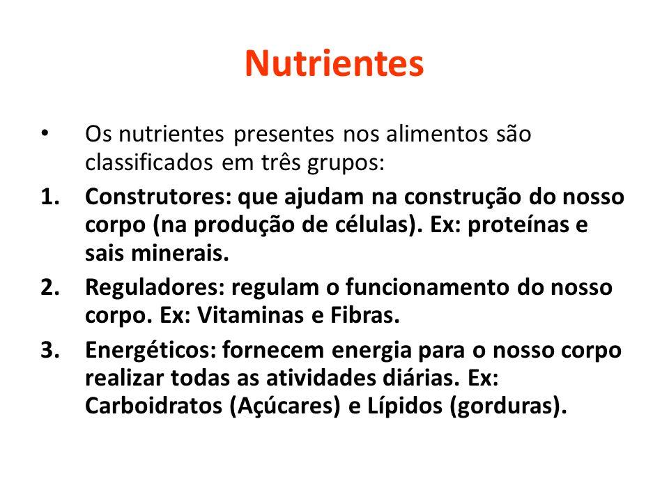 Nutrientes Os nutrientes presentes nos alimentos são classificados em três grupos: