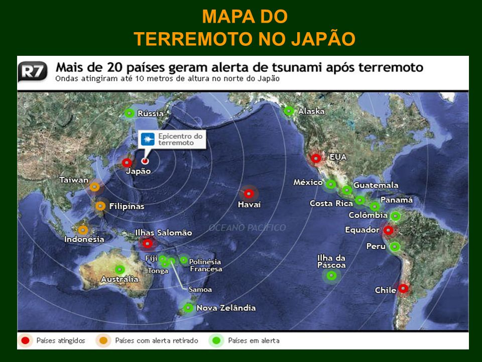MAPA DO TERREMOTO NO JAPÃO