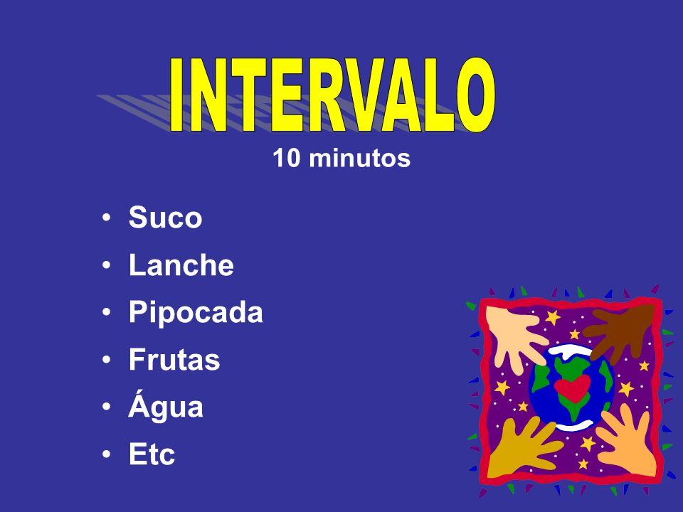 INTERVALO 10 minutos Suco Lanche Pipocada Frutas Água Etc