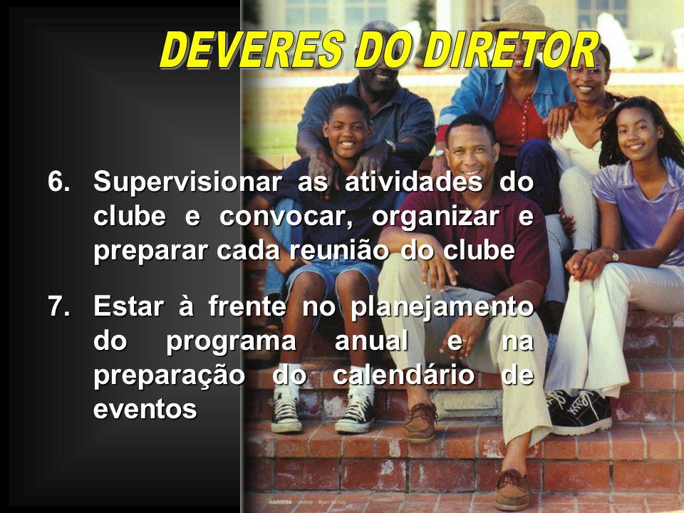 DEVERES DO DIRETOR 6. Supervisionar as atividades do clube e convocar, organizar e preparar cada reunião do clube.
