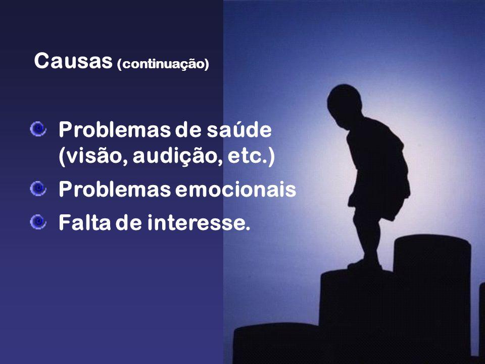Causas (continuação) Problemas de saúde (visão, audição, etc.) Problemas emocionais.