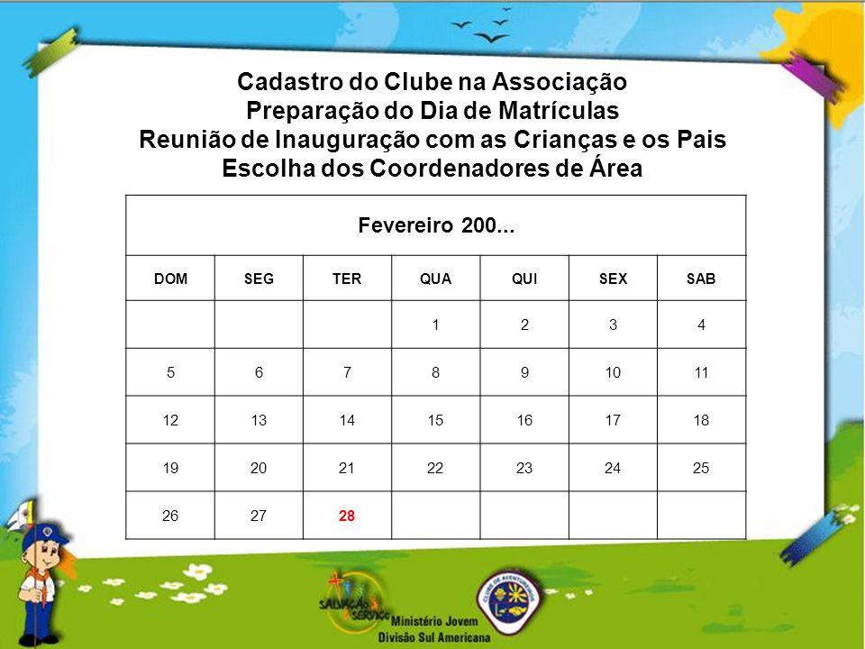 Cadastro do Clube na Associação Preparação do Dia de Matrículas Reunião de Inauguração com as Crianças e os Pais Escolha dos Coordenadores de Área