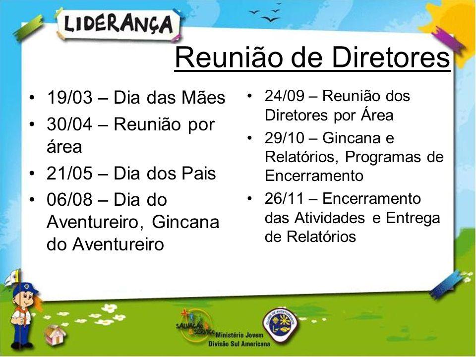 Reunião de Diretores 19/03 – Dia das Mães 30/04 – Reunião por área