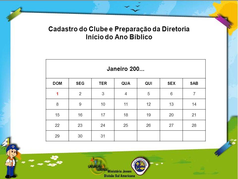 Cadastro do Clube e Preparação da Diretoria Início do Ano Bíblico