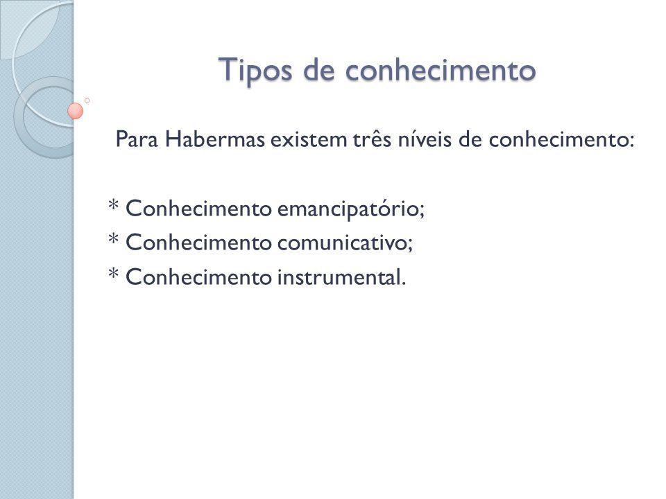 Tipos de conhecimento Para Habermas existem três níveis de conhecimento: * Conhecimento emancipatório;