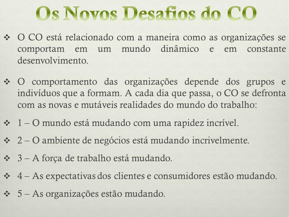 Os Novos Desafios do CO O CO está relacionado com a maneira como as organizações se comportam em um mundo dinâmico e em constante desenvolvimento.