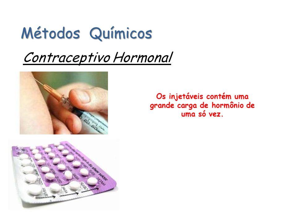 Os injetáveis contém uma grande carga de hormônio de uma só vez.
