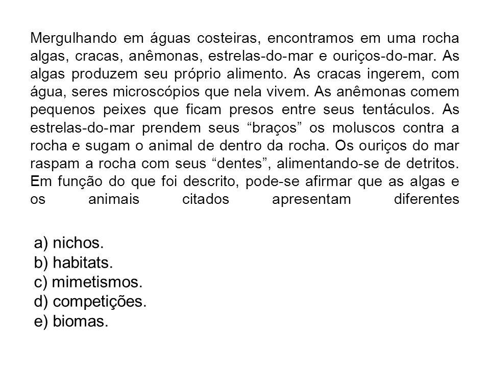 a) nichos. b) habitats. c) mimetismos. d) competições. e) biomas.