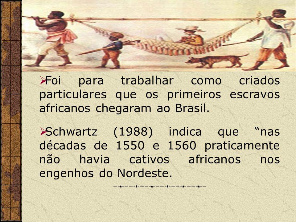 Foi para trabalhar como criados particulares que os primeiros escravos africanos chegaram ao Brasil.