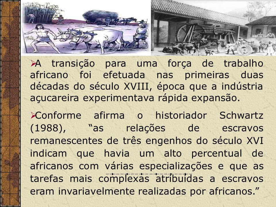 A transição para uma força de trabalho africano foi efetuada nas primeiras duas décadas do século XVIII, época que a indústria açucareira experimentava rápida expansão.