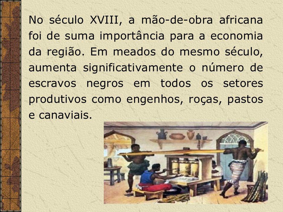 No século XVIII, a mão-de-obra africana foi de suma importância para a economia da região.
