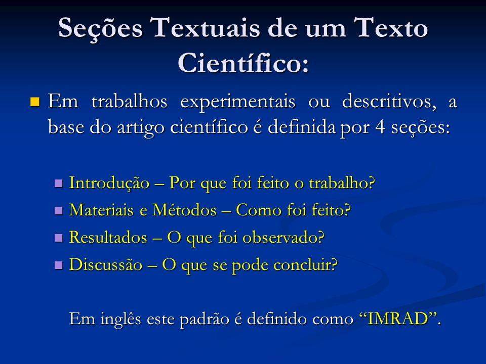 Seções Textuais de um Texto Científico: