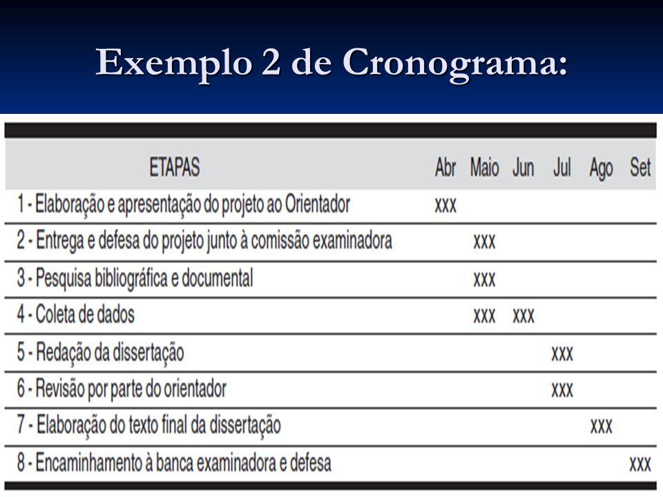 Exemplo 2 de Cronograma: