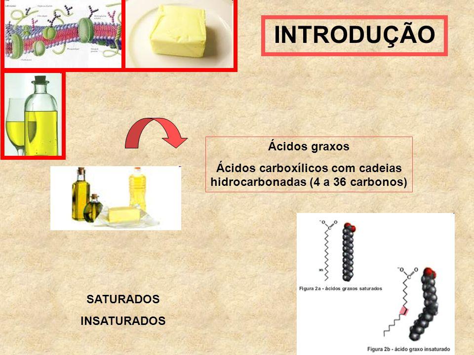 Ácidos carboxílicos com cadeias hidrocarbonadas (4 a 36 carbonos)