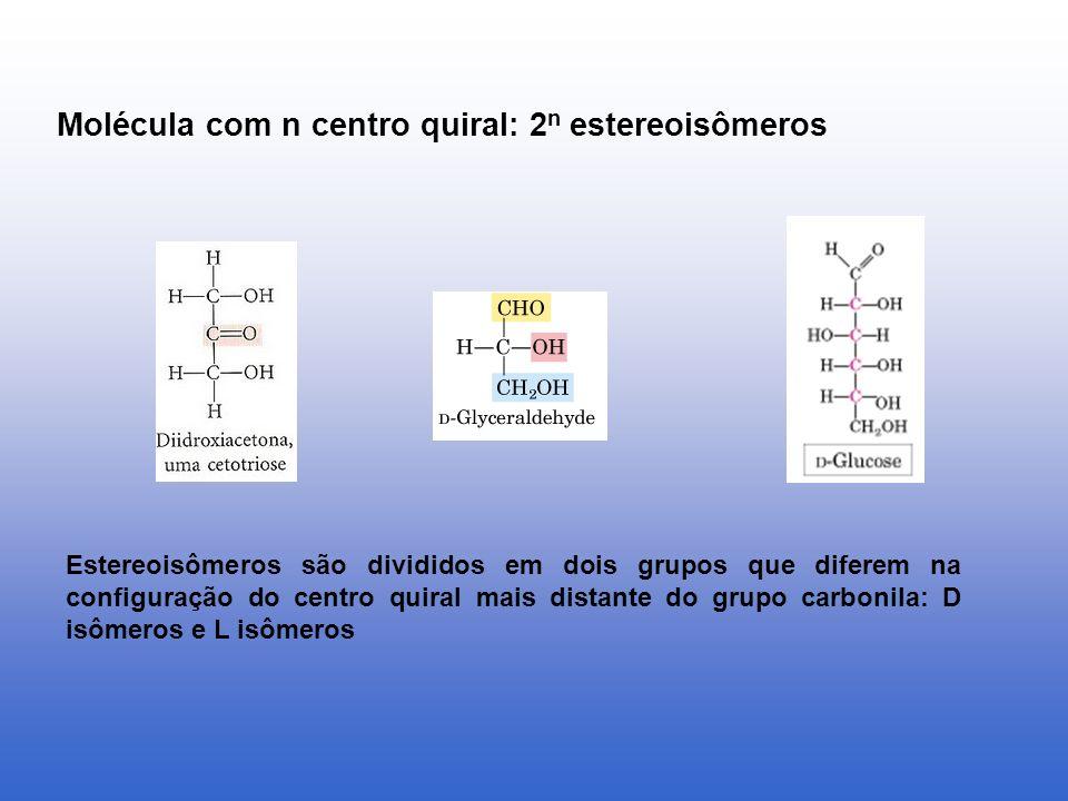 Molécula com n centro quiral: 2n estereoisômeros