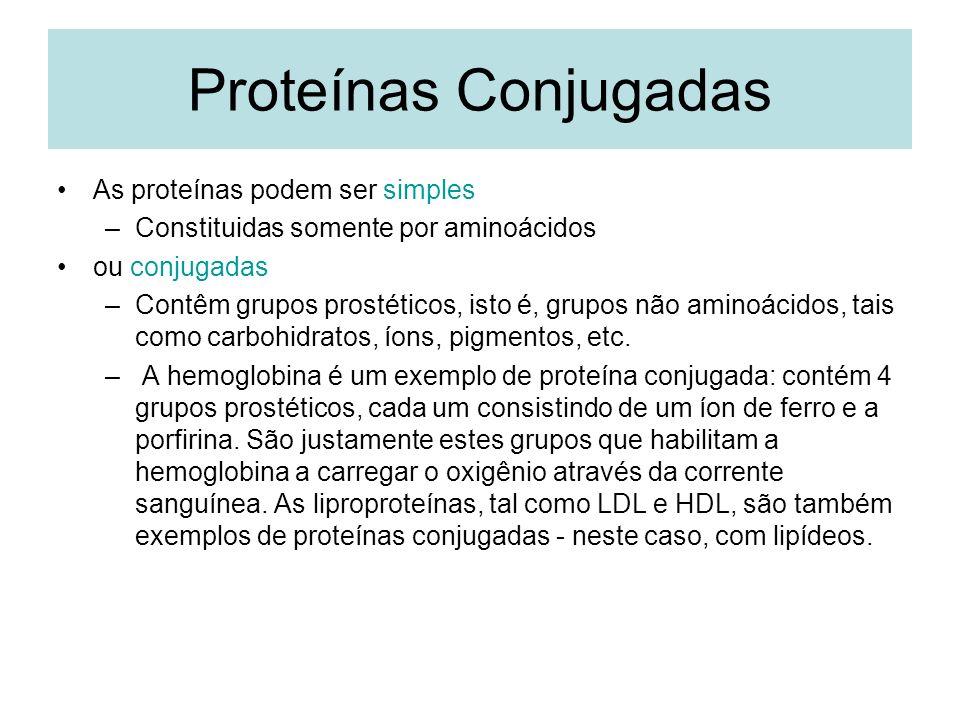 Proteínas Conjugadas As proteínas podem ser simples