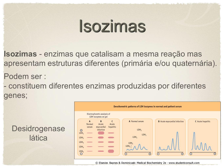 Isozimas Isozimas - enzimas que catalisam a mesma reação mas apresentam estruturas diferentes (primária e/ou quaternária).