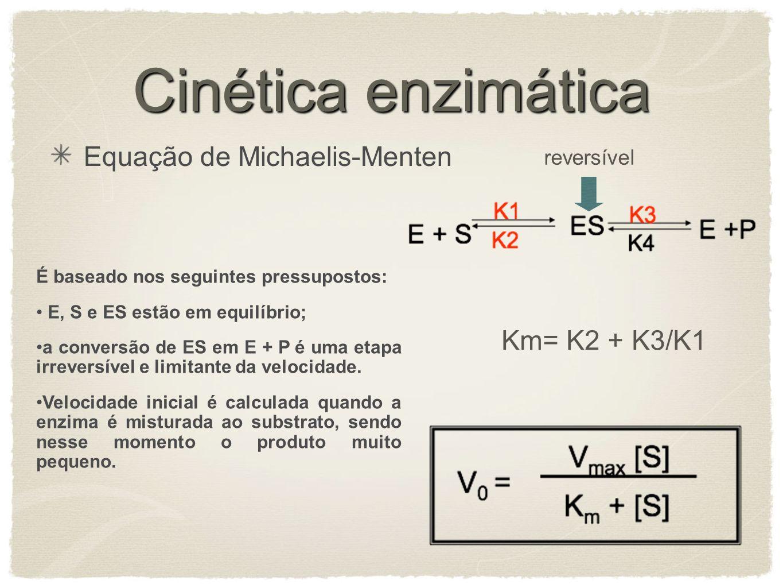 Cinética enzimática Equação de Michaelis-Menten Km= K2 + K3/K1