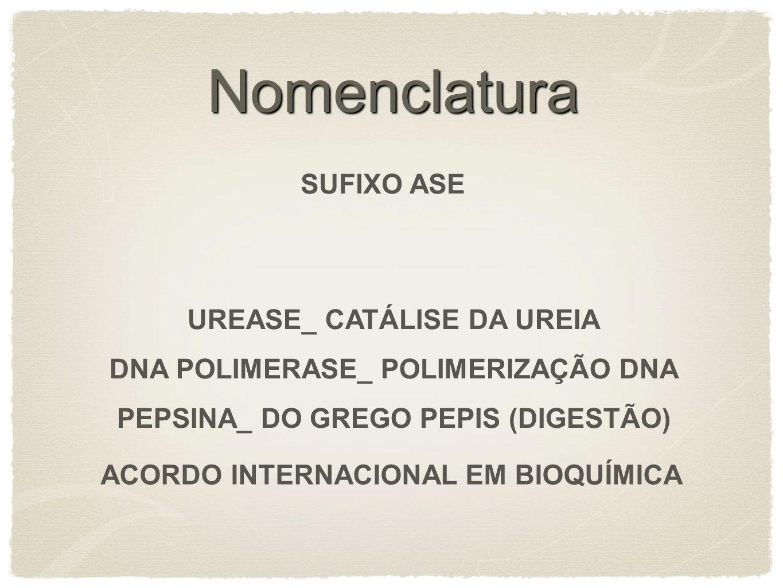 Nomenclatura SUFIXO ASE UREASE_ CATÁLISE DA UREIA