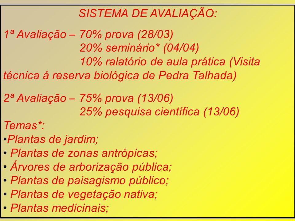 SISTEMA DE AVALIAÇÃO: 1ª Avaliação – 70% prova (28/03) 20% seminário* (04/04)