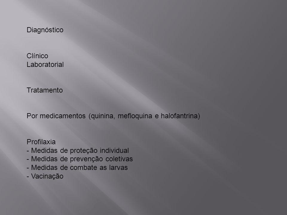DiagnósticoClínico. Laboratorial. Tratamento. Por medicamentos (quinina, mefloquina e halofantrina)