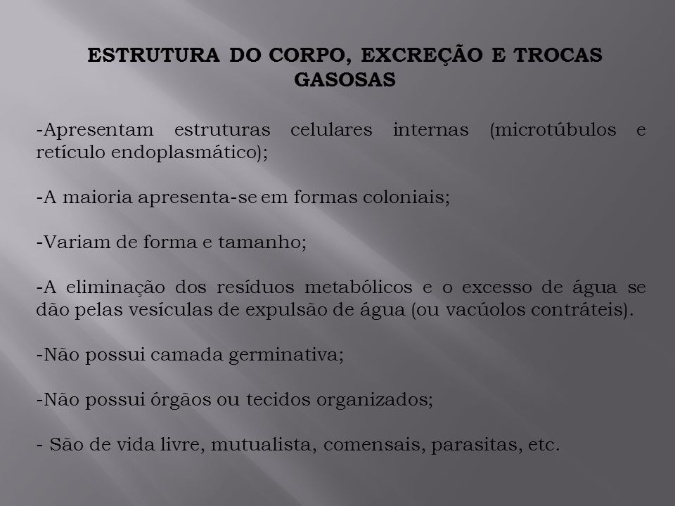 ESTRUTURA DO CORPO, EXCREÇÃO E TROCAS GASOSAS