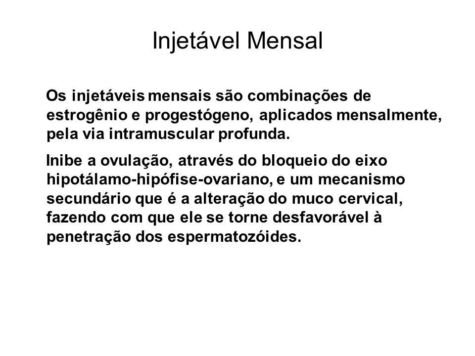 Injetável MensalOs injetáveis mensais são combinações de estrogênio e progestógeno, aplicados mensalmente, pela via intramuscular profunda.
