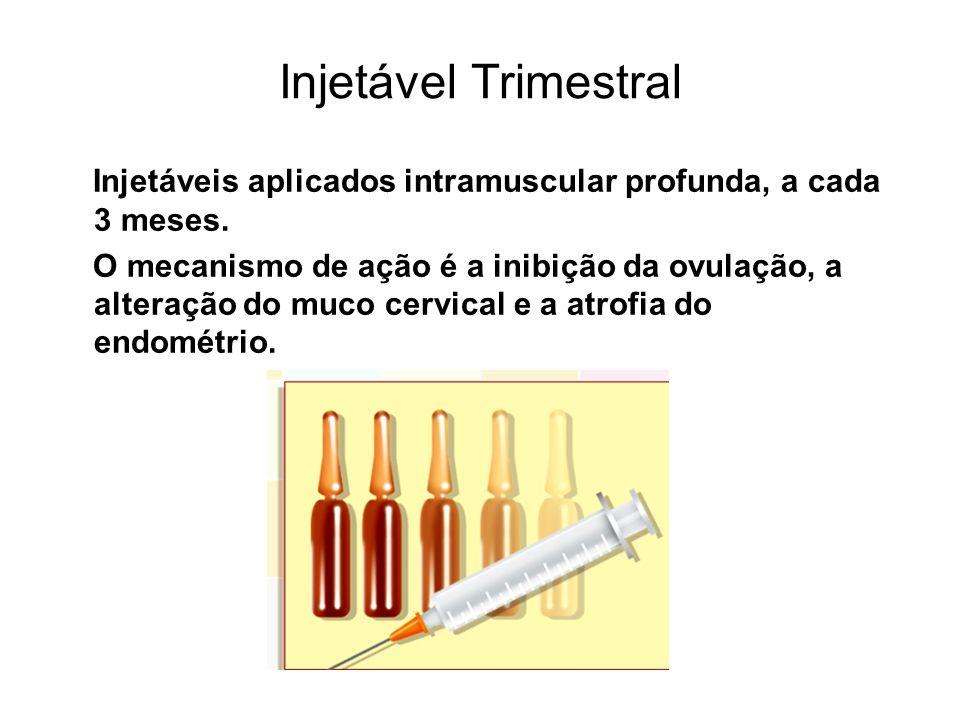 Injetável TrimestralInjetáveis aplicados intramuscular profunda, a cada 3 meses.