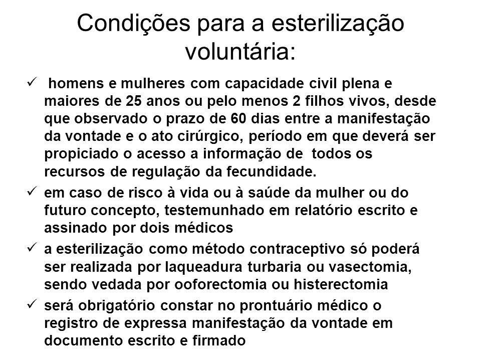 Condições para a esterilização voluntária: