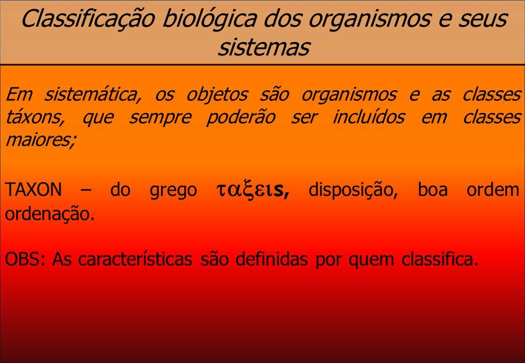 Classificação biológica dos organismos e seus sistemas