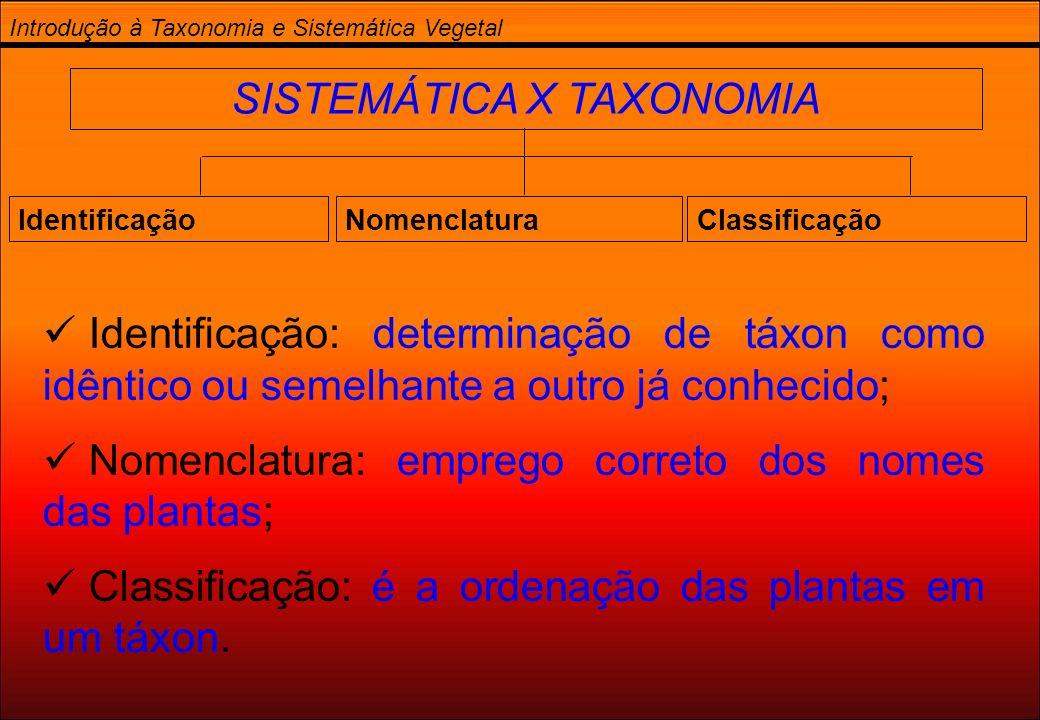 SISTEMÁTICA X TAXONOMIA