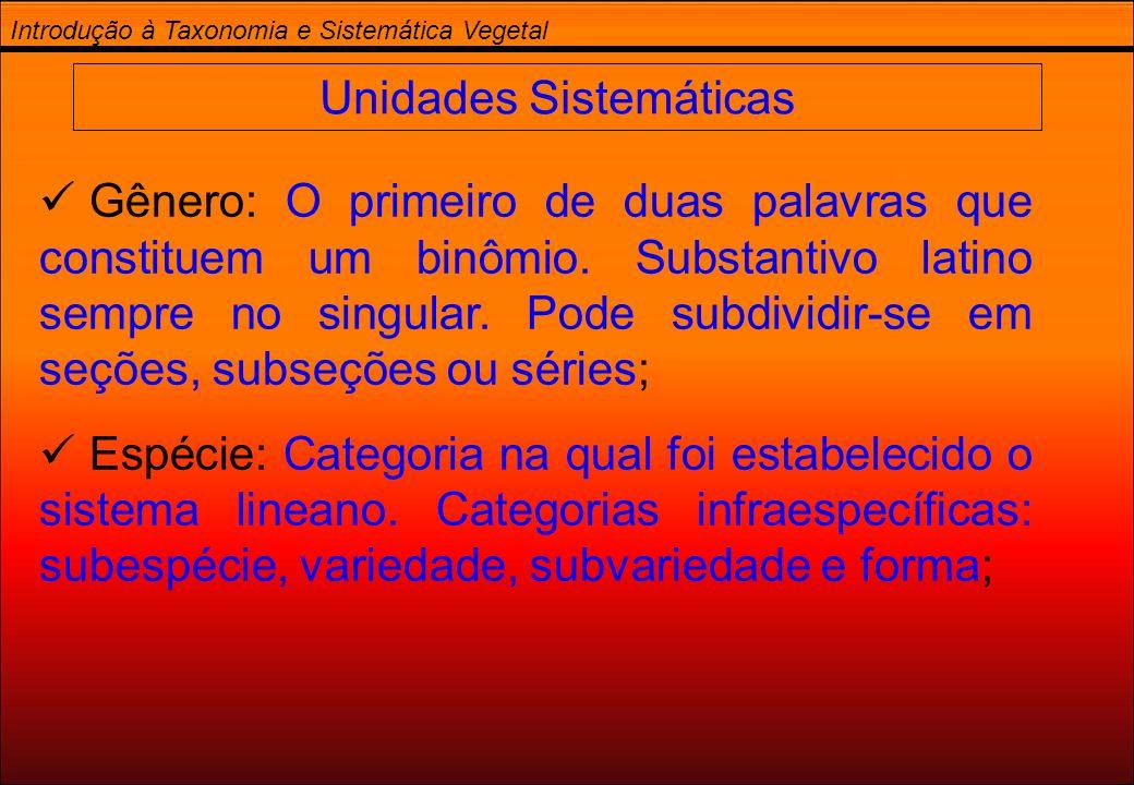 Unidades Sistemáticas
