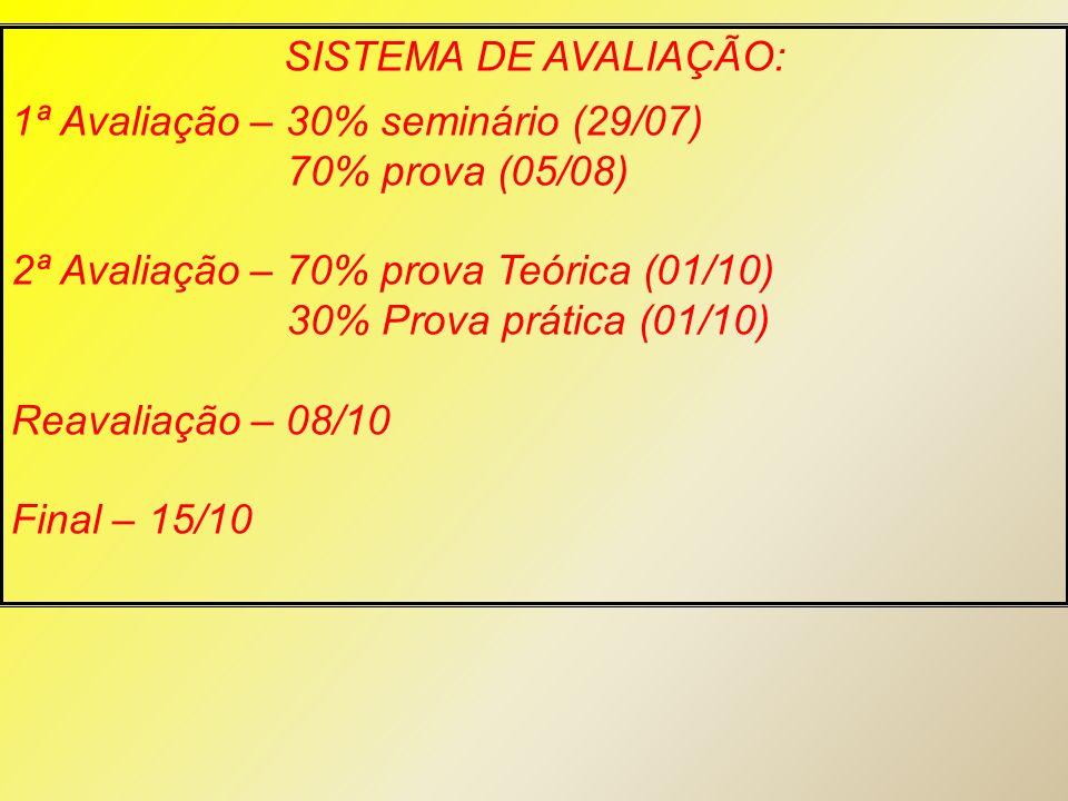 SISTEMA DE AVALIAÇÃO: 1ª Avaliação – 30% seminário (29/07) 70% prova (05/08) 2ª Avaliação – 70% prova Teórica (01/10)