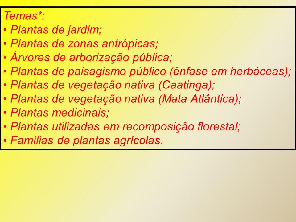 Temas*: Plantas de jardim; Plantas de zonas antrópicas; Árvores de arborização pública; Plantas de paisagismo público (ênfase em herbáceas);
