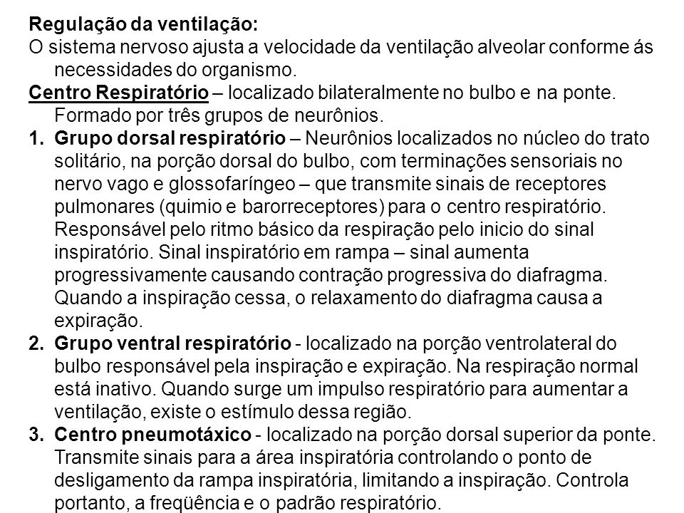 Regulação da ventilação:
