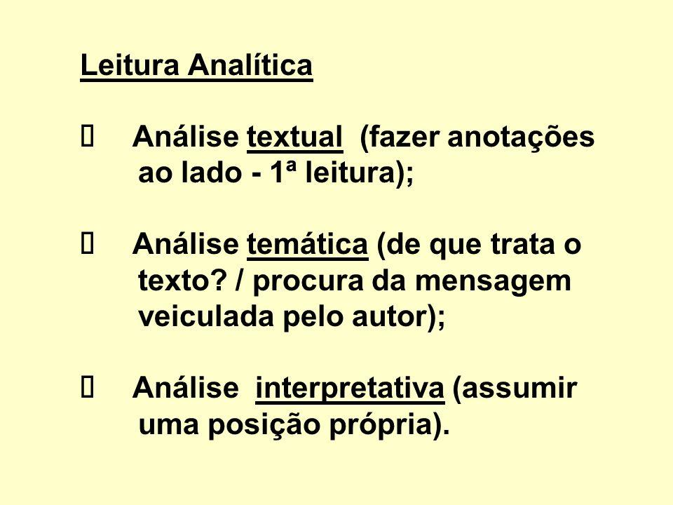 Leitura Analítica ü Análise textual (fazer anotações ao lado - 1ª leitura); ü Análise temática (de que trata o texto.