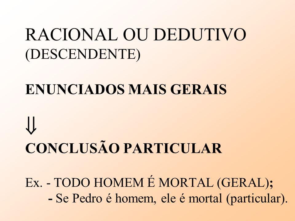 RACIONAL OU DEDUTIVO (DESCENDENTE) ENUNCIADOS MAIS GERAIS  CONCLUSÃO PARTICULAR Ex.