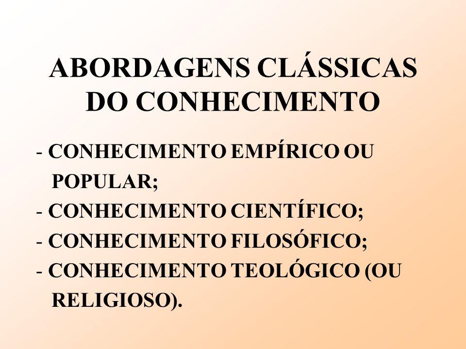 ABORDAGENS CLÁSSICAS DO CONHECIMENTO