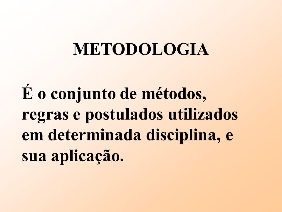 METODOLOGIA É o conjunto de métodos, regras e postulados utilizados em determinada disciplina, e sua aplicação.