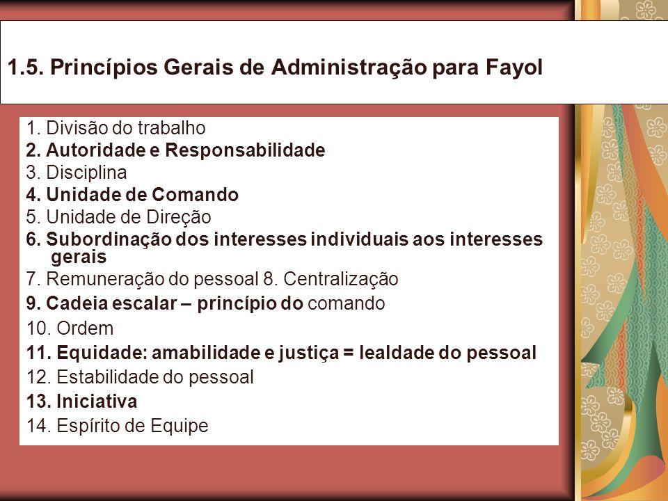 1.5. Princípios Gerais de Administração para Fayol