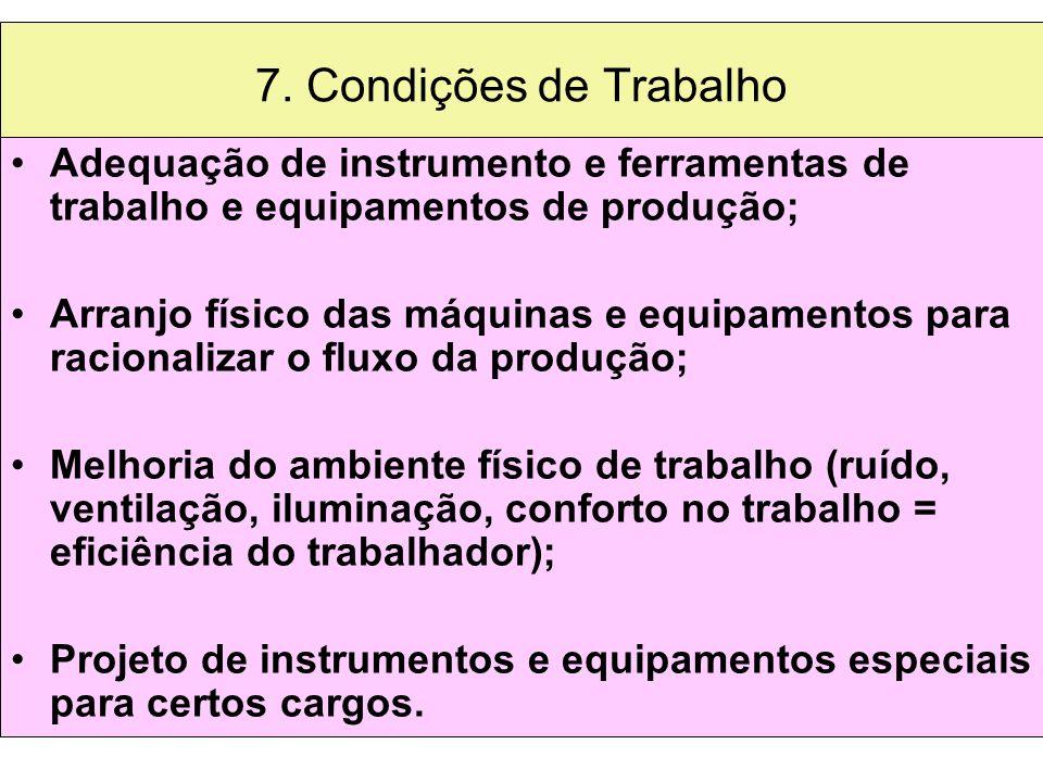 7. Condições de Trabalho Adequação de instrumento e ferramentas de trabalho e equipamentos de produção;