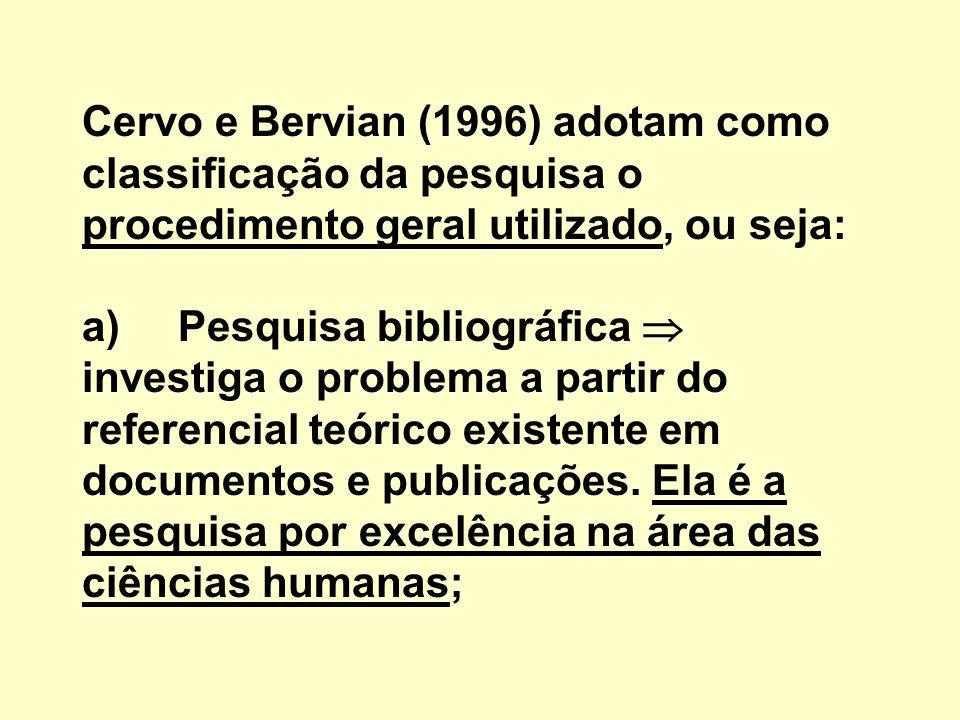 Cervo e Bervian (1996) adotam como classificação da pesquisa o procedimento geral utilizado, ou seja: a) Pesquisa bibliográfica  investiga o problema a partir do referencial teórico existente em documentos e publicações.