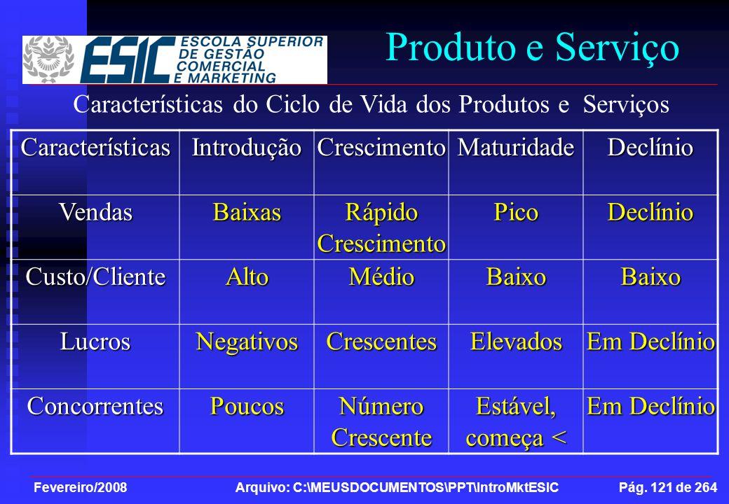 Produto e Serviço Características do Ciclo de Vida dos Produtos e Serviços. Características. Introdução.