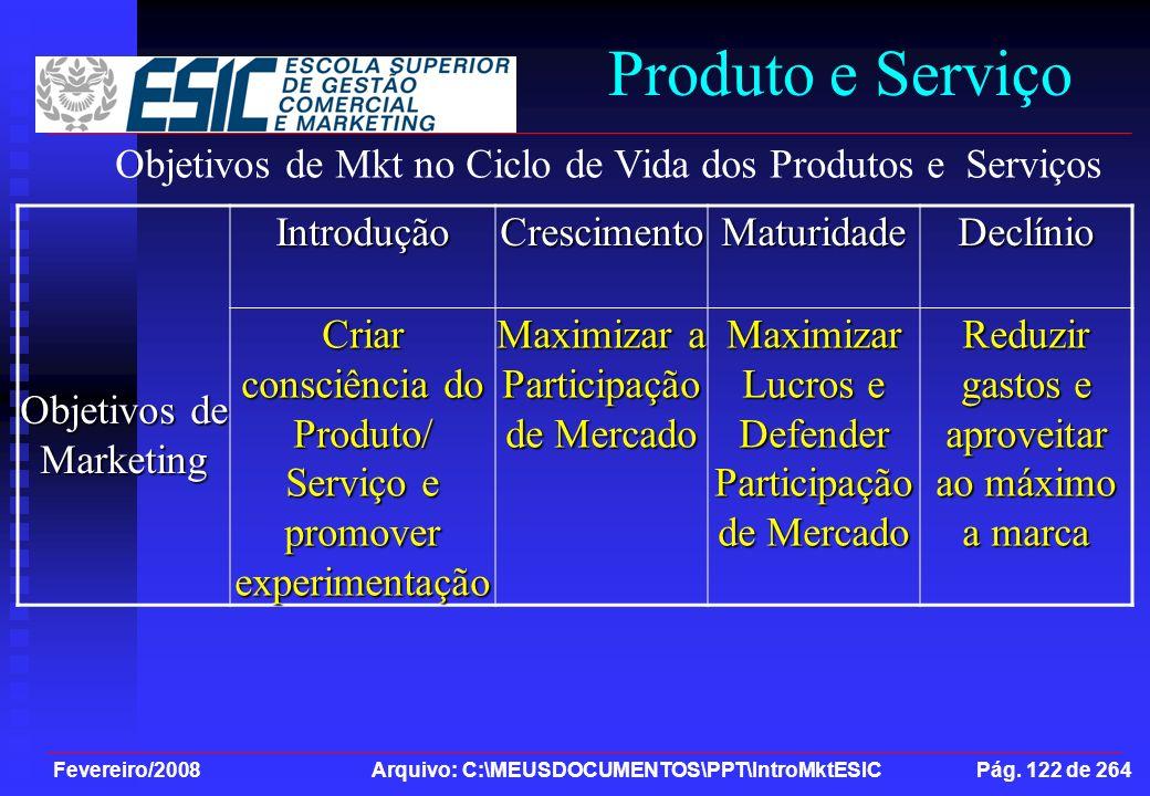 Produto e Serviço Objetivos de Mkt no Ciclo de Vida dos Produtos e Serviços. Objetivos de Marketing.