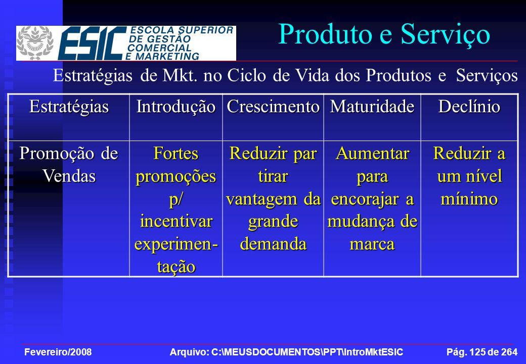 Produto e Serviço Estratégias de Mkt. no Ciclo de Vida dos Produtos e Serviços. Estratégias. Introdução.
