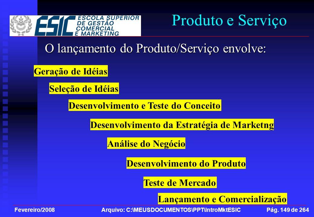 Produto e Serviço O lançamento do Produto/Serviço envolve: