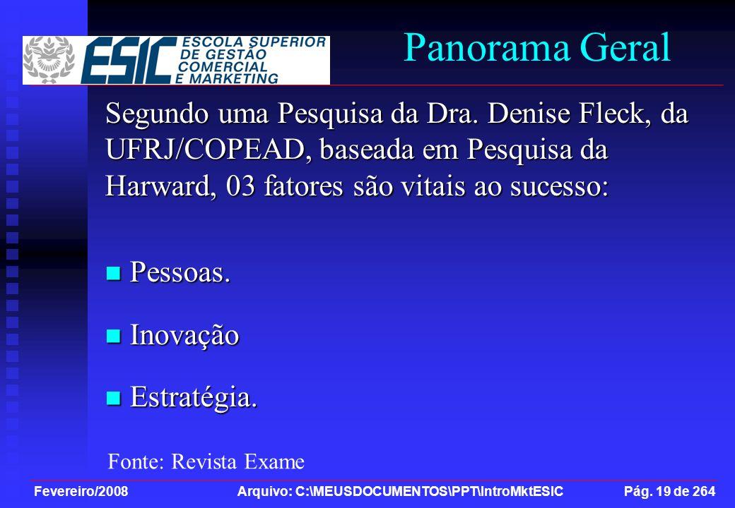 Panorama Geral Segundo uma Pesquisa da Dra. Denise Fleck, da UFRJ/COPEAD, baseada em Pesquisa da Harward, 03 fatores são vitais ao sucesso: