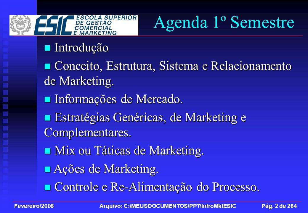 Agenda 1º Semestre Introdução