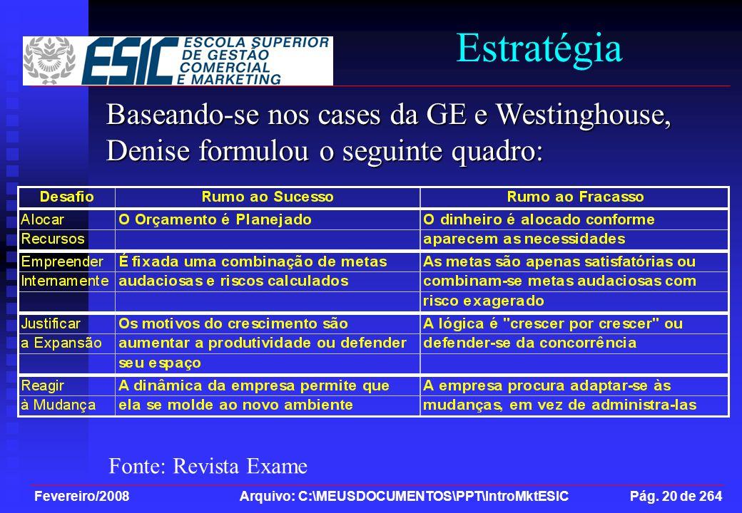 Estratégia Baseando-se nos cases da GE e Westinghouse, Denise formulou o seguinte quadro: Fonte: Revista Exame.